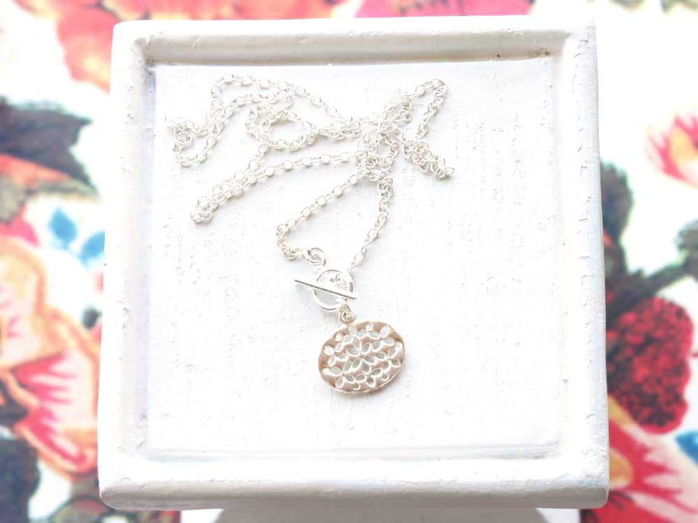 Filigree toggle sterling silver toggle necklace by Remy and Me.