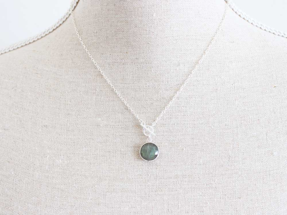 Labradorite Coin Sterling Silver Toggle Necklace