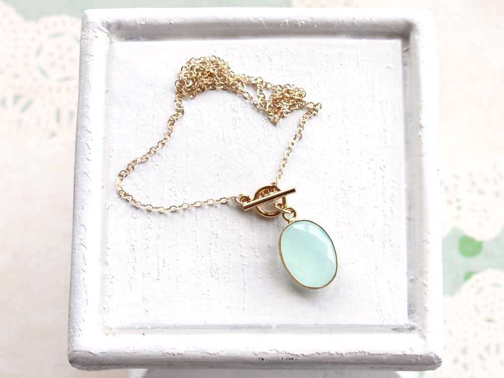 Seafoam Chalcedony Gold Toggle Necklace by Remy and Me.