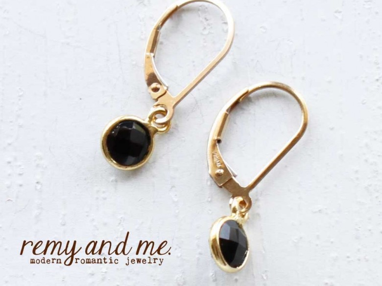 tiny gold black onyx leverback earrings