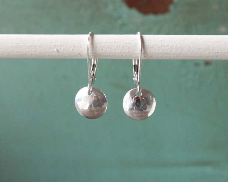 Small Silver Rounded Disc Leverback Earrings