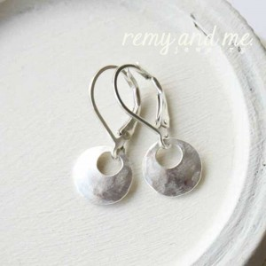 Small hand-hammered hoop dangle earrings