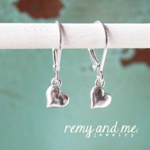 Tiny sterling silver heart dangle earrings by Remy and Me. Jewelry